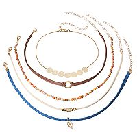 Seed Bead, Disc & Leaf Choker Necklace Set