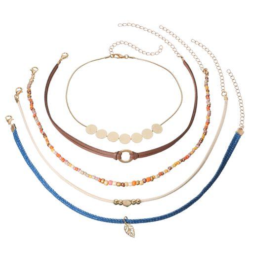 Seed Bead, Disc & Leaf Choker Necklace Set