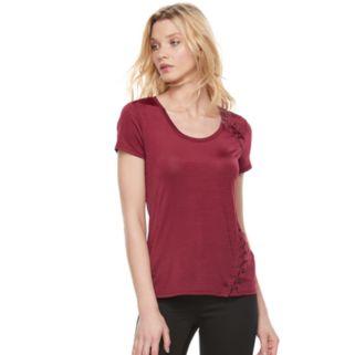Women's Rock & Republic® Asymmetrical Lace-Up Tee