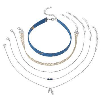 Blue Fabric, Lace & Leaf Choker Necklace Set