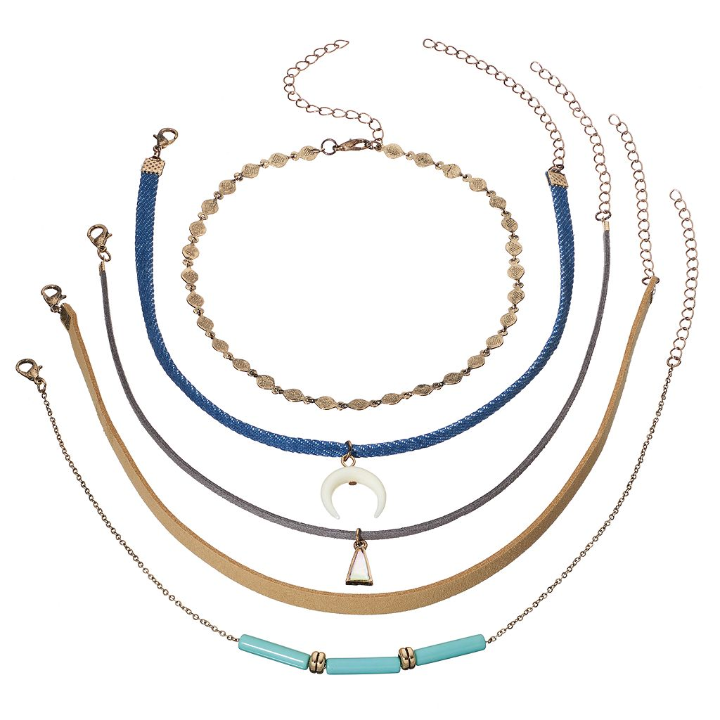 Triangle, Crescent & Blue Beaded Choker Necklace Set