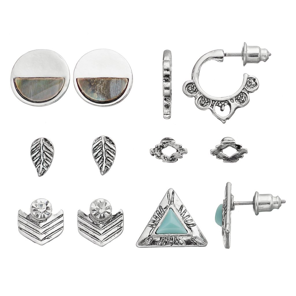 Antiqued Leaf, Chevron, Triangle & Bird's-Eye Earring Set