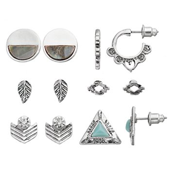 Antiqued Leaf, Chevron, Triangle & Bird's-Eye Earring Set