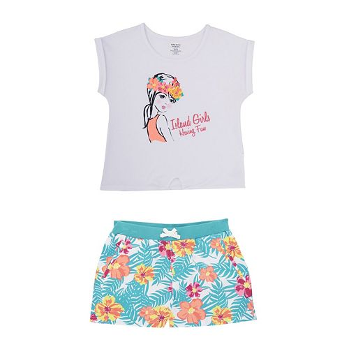 "Toddler Girl French Toast ""Island Girls Having Fun"" Tee & Shorts Set"