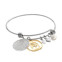 Disney's Beauty and the Beast Two Tone Rose Charm Bangle Bracelet