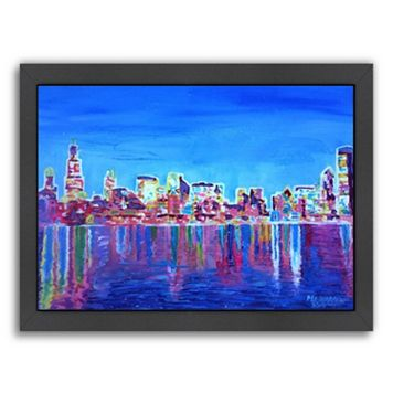 Americanflat Chicago Skyline Neon Shimmering Framed Wall Art