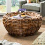 Safavieh Round Wicker Coffee Table
