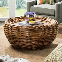 Safavieh Round Wicker Coffee Table