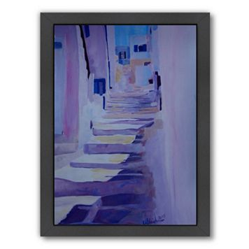 Americanflat Enchanting Mykonos Greek Island Stairs Framed Wall Art