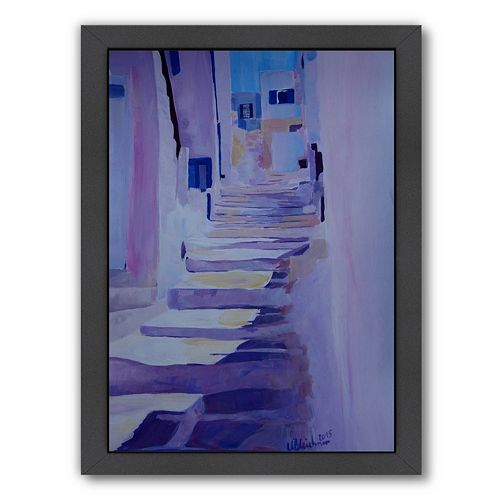 Americanflat Enchanting Mykonos Greek Island Stairs Framed Wall Art