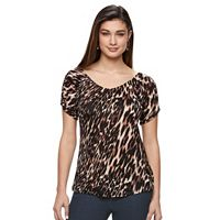Petite Jennifer Lopez Ruched V-Neck Tee