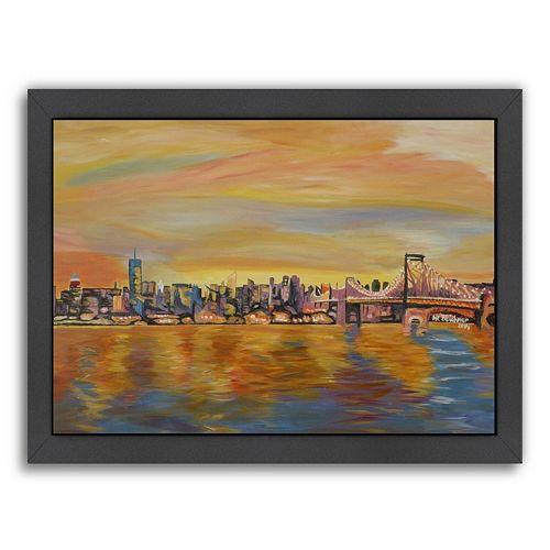 """Americanflat """"Golden New York City Skyline"""" Framed Wall Art"""