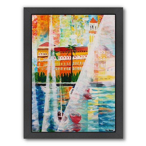 "Americanflat ""Grand Hotel In Gardone Riviera In Sunlight"" Framed Wall Art"