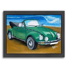 Americanflat 'Green Bug At Beach' Framed Wall Art