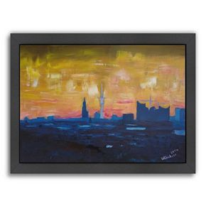 "Americanflat ""Hamburg Skyline Dusk 2"" Framed Wall Art"