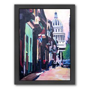 """Americanflat """"Havana Cuba Street Scene"""" Framed Wall Art"""