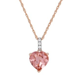 David Tutera 14k Rose Gold Over Silver Simulated Morganite & Cubic Zirconia Heart Pendant