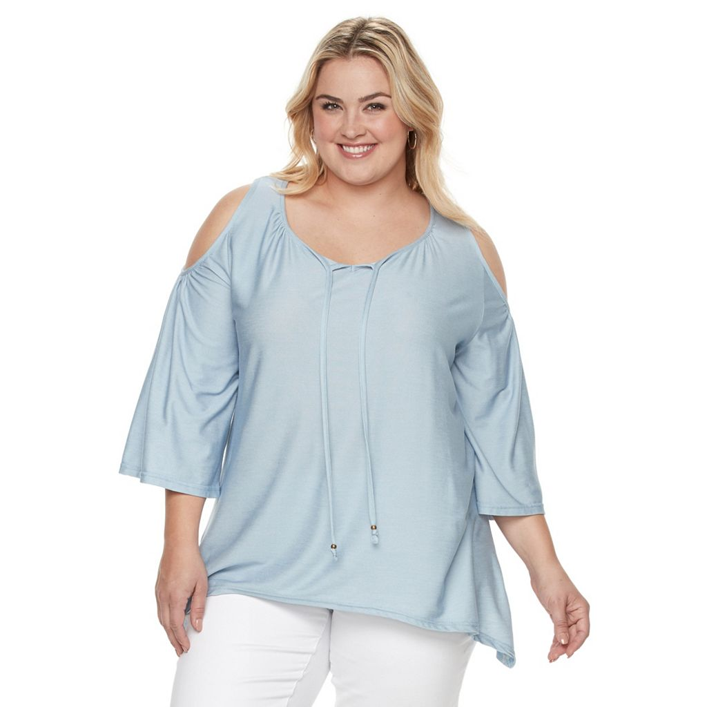 Plus Size French Laundry Cold Shoulder Keyhole Tie Top