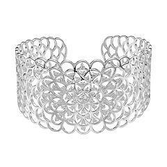 Sterling Silver Cubic Zirconia Flower Cuff Bracelet