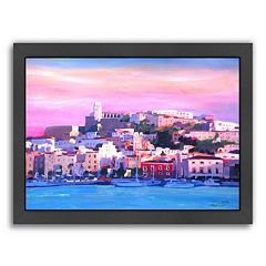 Americanflat 'Ibiza Old Town And Harbour Pearl Of The Mediterranean' Framed Wall Art