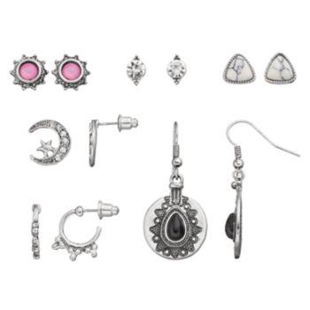 Antiqued Crescent, Sunburst & Medallion Earring Set