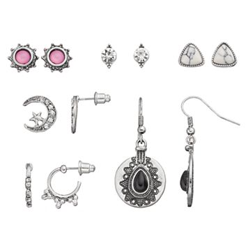Antiqued Crescent, Sunburst & Medallion Earring Set