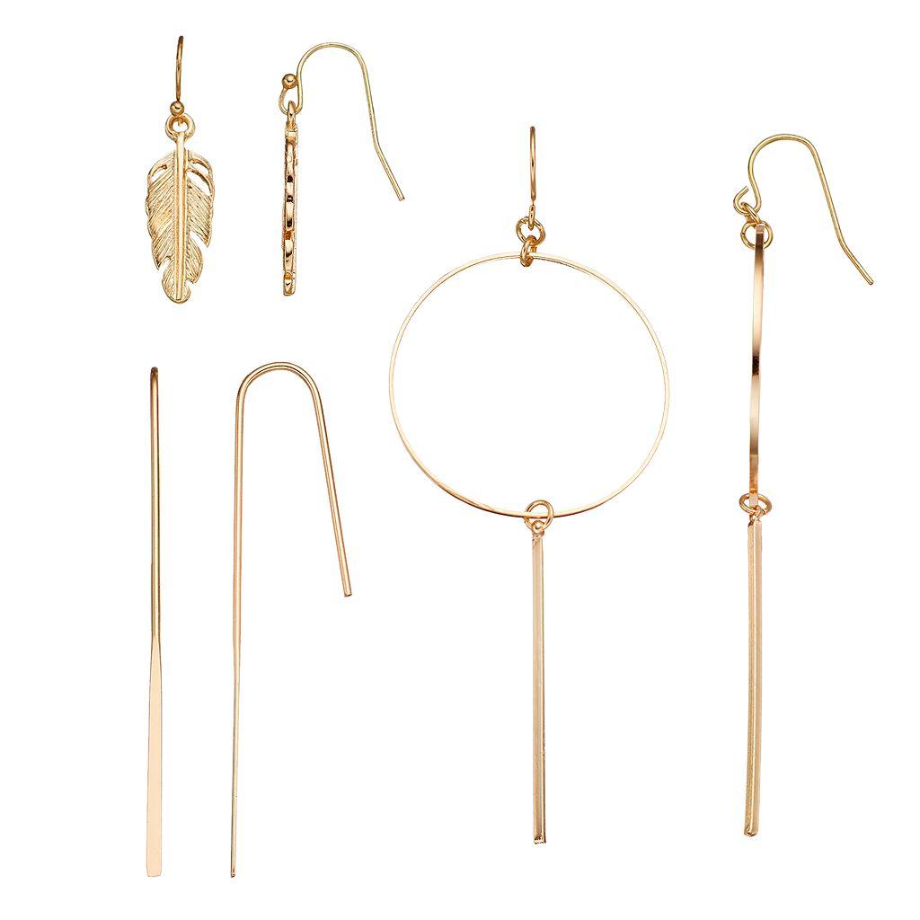 Feather, Stick & Hoop Drop Earring Set