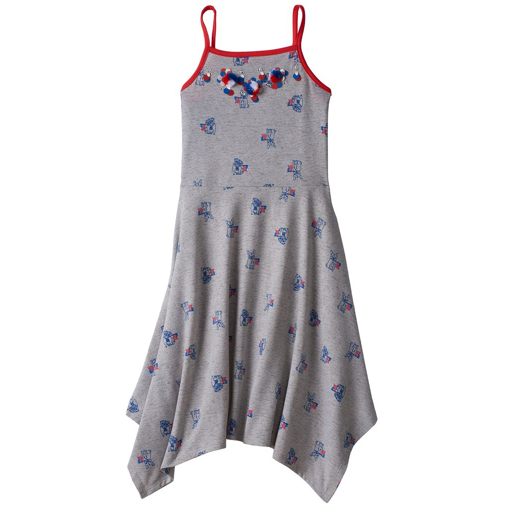Girls 7-16 SO® Embellished Handkerchief Hem Knit Dress