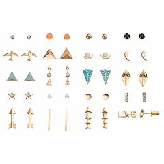 'Love,' Arrow, Star, Crescent & Bird Stud Earring Set