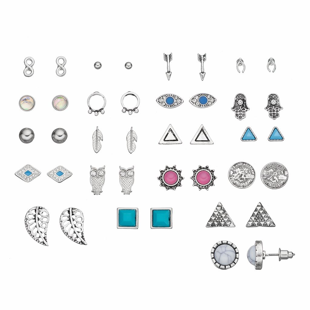 Owl, Arrow, Hamsa, Evil Eye & Infinity Stud Earring Set