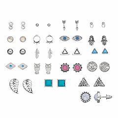 Owl, Arrow, Hamsa, Evil Eye & Infinity Stud Earring Set