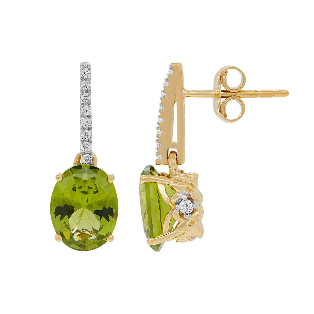 David Tutera 14k Gold Over Silver Simulated Peridot & Cubic Zirconia Drop Earrings