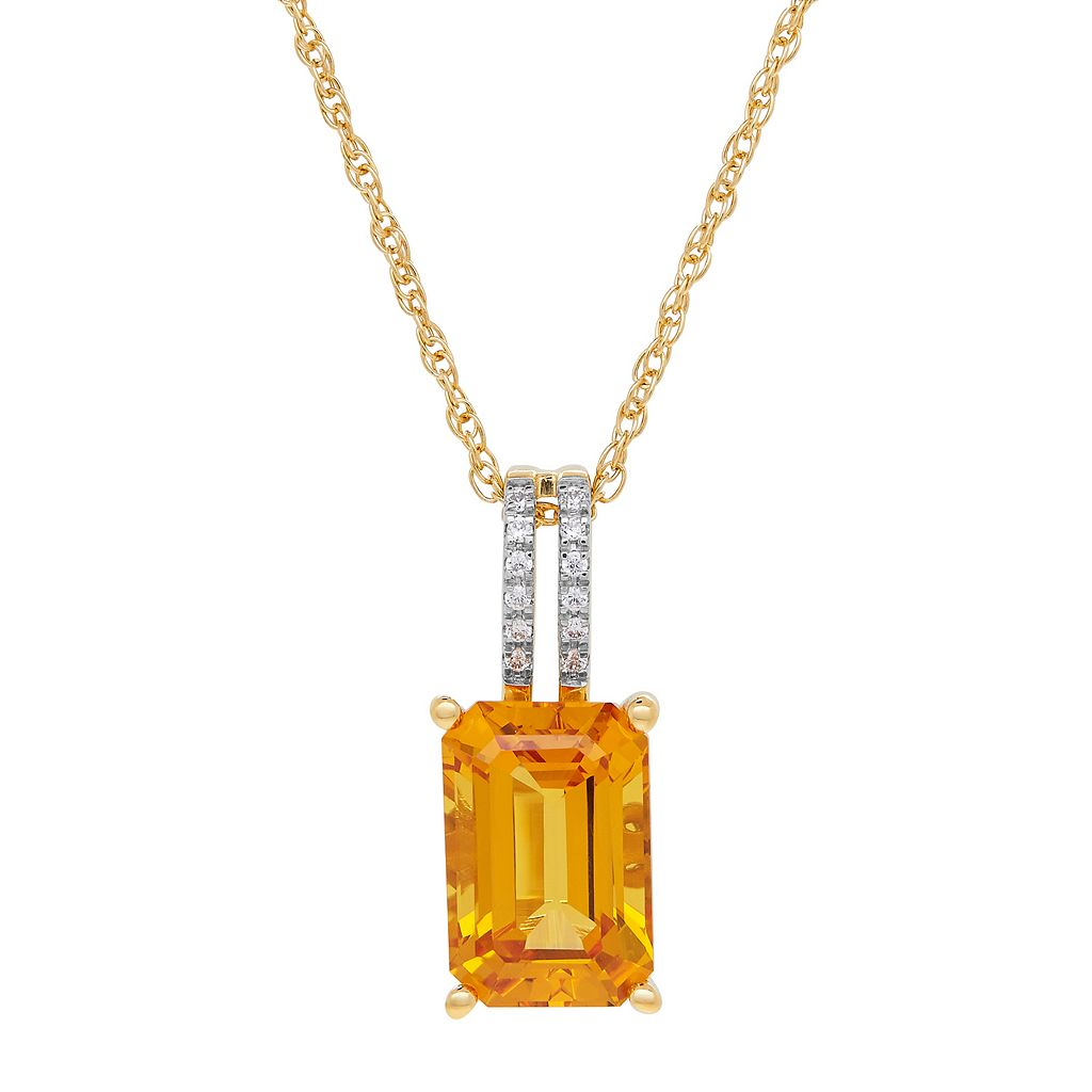 David Tutera 14k Gold Over Silver Simulated Citrine & Cubic Zirconia Pendant