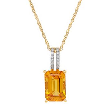 David Tutera 14k Gold Over Silver Simulated Citrine & Cubic Zirconia Pendant