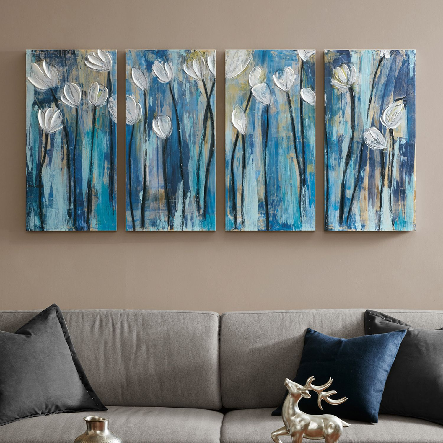 INK+IVY Ocean Breeze Blossom Canvas Wall Art 4 Piece Set