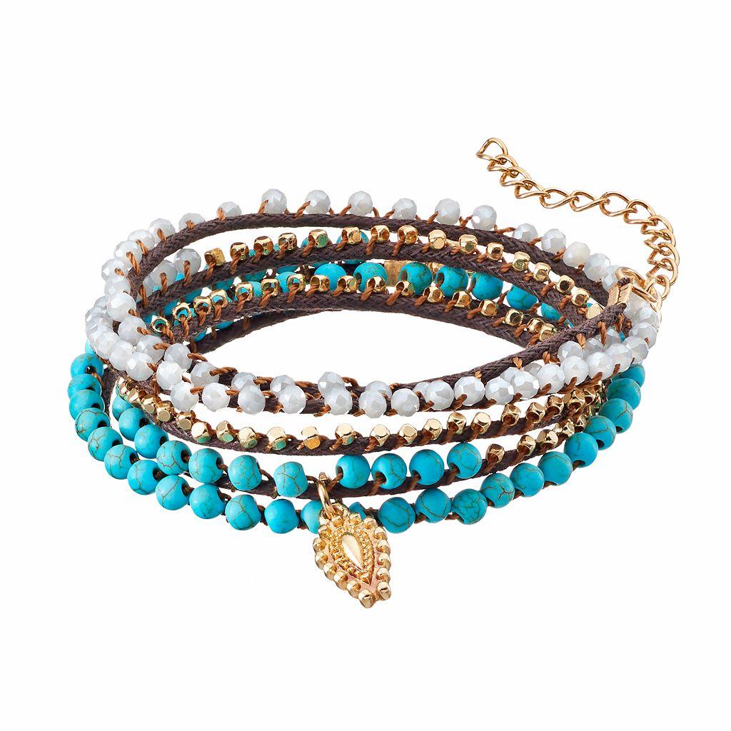 Simulated Turquoise Beaded Wrap Bracelet