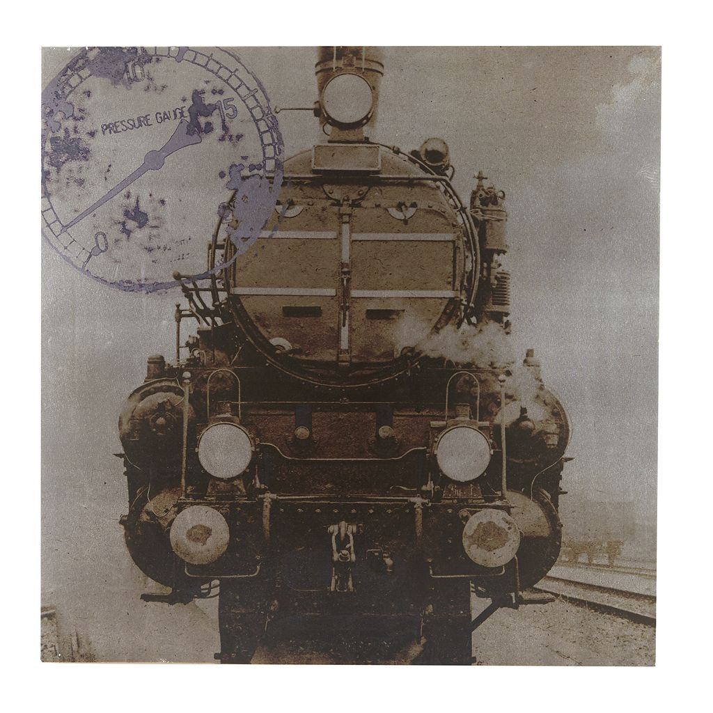 INK+IVY History Of Locomotion Metallic Canvas Wall Art