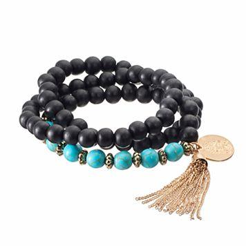 Black Bead Tassel Charm Multi Strand Bracelet