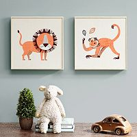 INK+IVY Kids Lion & Monkey Framed Wall Art 2 pc Set