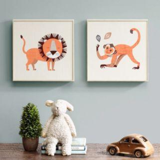 INK+IVY Kids Lion & Monkey Framed Wall Art 2-piece Set