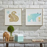 INK+IVY Kids Polar Bear & Nutty Squirrel Framed Wall Art 2-piece Set