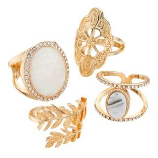Oval, Flower & Leaf Ring Set