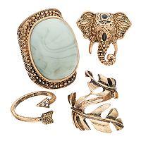 Leaf, Elephant, Arrow & Cabochon Ring Set