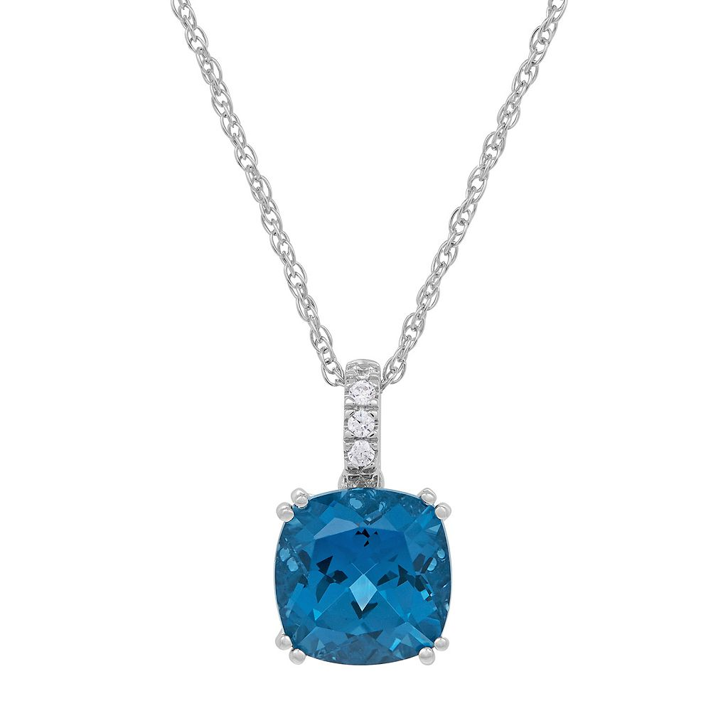 David Tutera Sterling Silver Simulated Blue Topaz & Cubic Zirconia Pendant