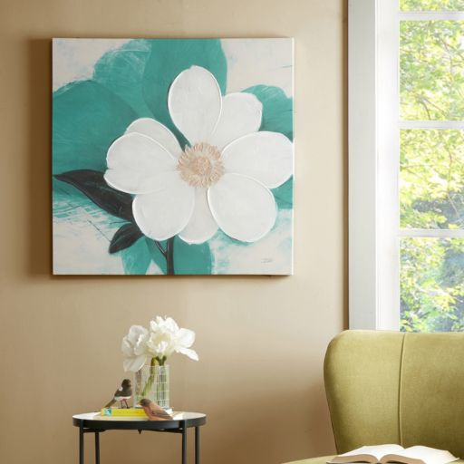 Madison Park Midday Bloom Teal Canvas Wall Art
