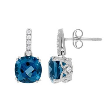 David Tutera Sterling Silver Simulated Blue Topaz & Cubic Zirconia Drop Earrings