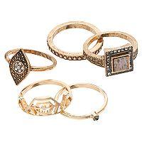 Geometric & Evil Eye Ring Set