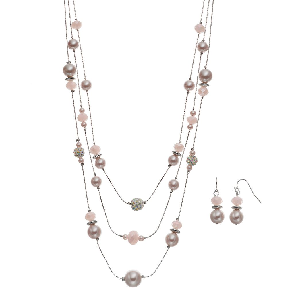 Pink Simulated Pearl Multi Strand Necklace & Drop Earring Set