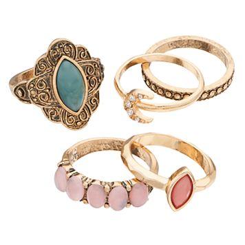 Moon & Filigree Ring Set