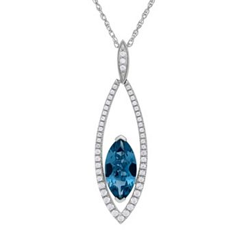 David Tutera Sterling Silver Simulated Blue Topaz & Cubic Zirconia Marquise Pendant